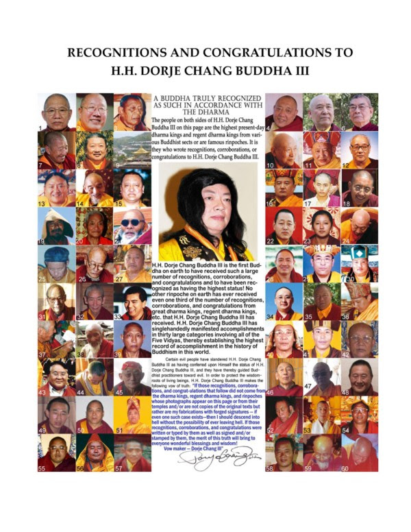 recognition and congratulation to H.H Dorje Chang Buddha III